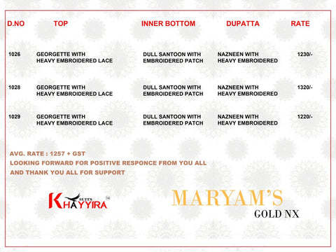 Khayyira Presents Maryam Gold Nx Pakistani Designer Embroidery Work Salwar Kameez