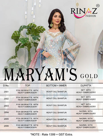 Rinaz Fashion Maryams Gold Vol 6 Georgette Pakistani Salwar Suits Collection