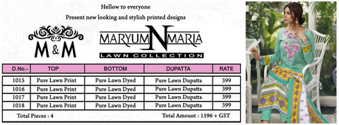 MARYUM N MARIA LAWN COLLECTION KARACHI PRINT SUITS