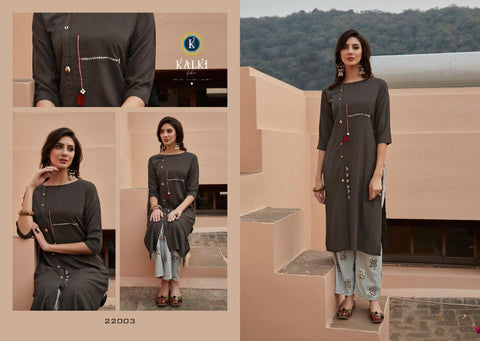 KALKI FASHION PRESENTS MIRROW VOL.6 CASUALWEAR KURTI WITH PLAZO