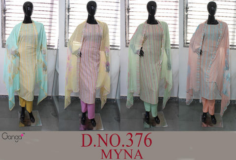 Ganga Suits Myna 376 Pure Cotton Casual Collection Salwar Kameez