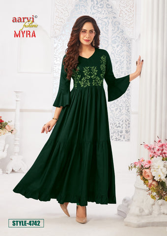 Aarvi Fashion Myra Vol 5 Designer Embriodery Work Kurties