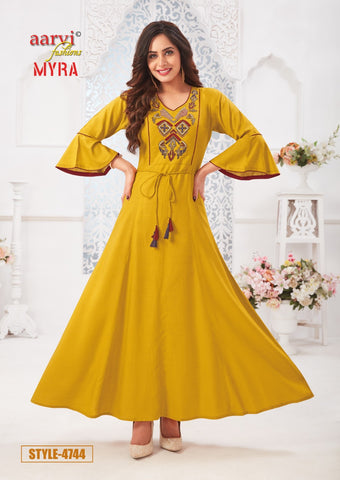 Aarvi Fashion Myra Vol 5 Designer Casual Wear Kurties Collection