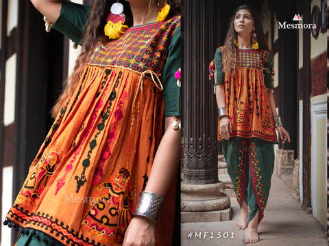 MESMORA KATH PUTALI FEMALE KEDIA COLLECTION COLOURFULMESMORA KATH PUTALI  EMBROIDERY KHADI KURTI WITH PANTS NAVRATRI SPECIAL