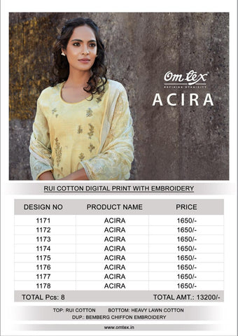 ACIRA BY OMTEX COTTON DIGITAL PRINT WITH EMBROIDERY SUIT COLLECTION
