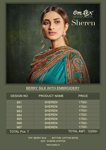 Omtex Sheren Pure Berry Silk Embroidery Salwar Kameez In Wholesale