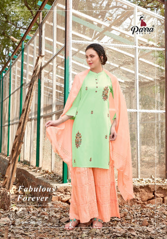 Parra Studio Shehnaz Pure Viscose Stylish Designer Kurti Collection With Sarara