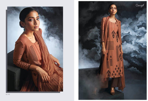 GANGA PASSING CLOUD FINEST COTTON SATIN PRINTED WITH EMBROIDERY SUIT