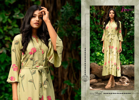 PSYNA PEARL VOL.5 ANKLE LENGTH PRINTED CASUAL WEAR GOWN KURTIS