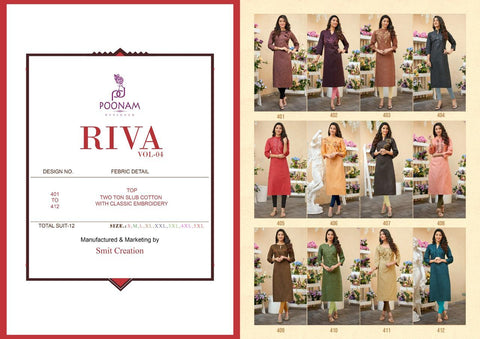 Poonam Riva Vol 4 Cotton Fabric Designer Kurti Collection