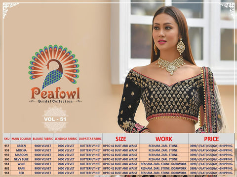 Peafowl Vol 51 Exclusive Bridal Lehenga Collection In Wholesale