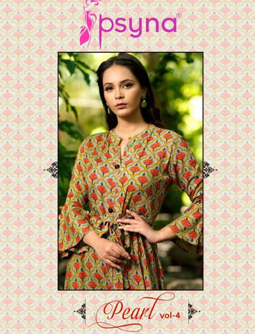 Psyna Pearl Vol 4 Colourful Printed Long Gown Kurti In Wholesale