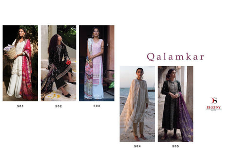DEEPSY SUIT QALAMKAR COTTON FABRIC WITH EMBROIDERY WORK SUITS