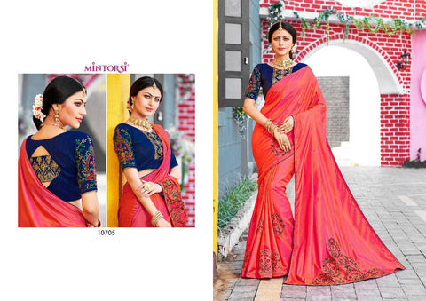 Mintorsi Presents Raazi Sana Silk Designer Embroidery Saree