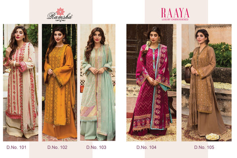 Ramsha Launched Raaya Luxury Embrpoiderd Jam Silk Cotton Heavy Embroidery Casual Wear Salwar Kameez