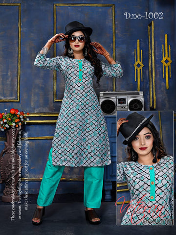 Rashika Cotton Fabric Rayon Designer Kurti Collection With Pant