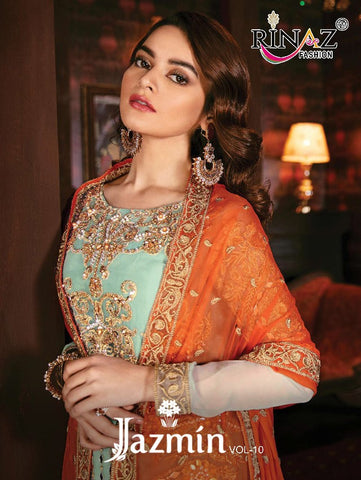 RINAZ FASHION JAZMIN VOL 10 HEAVY GEORGETTE EMBROIDERY & DIAMOND SUIT