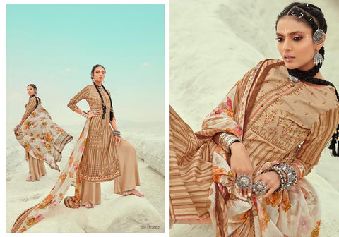 KARACHI PRINTS PRESENTS RUBAB JAM SATIN DRESS MATERIAL WITH EMBROIDERY