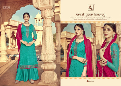 ALOK SUITS RUHANI VISCOSE BRASSO EMBROIDERED FESTIVE WEAR SUITS