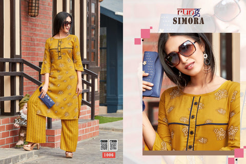RUNG PRESNTS SIMORA KURTI COLLECTION WITH PLAZO