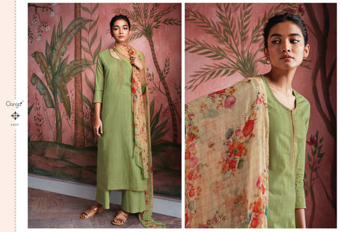 GANGA RYUU SUPER COTTON LAWN DRESS MATERIAL WITH EMBROIDERY