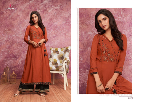Rangoon Merry Embroidered Khatli Work Kurti Collection