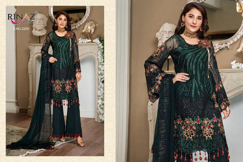 Rinaz Fashion Maryams Gold Georgette Embroidered Pakistani Suit