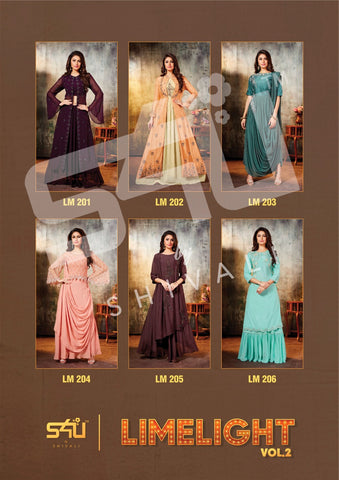 S4U SHIVALI LIMELIGHT VOL 2 FANCY HEAVY GOWN KURTI WITH PLAZO