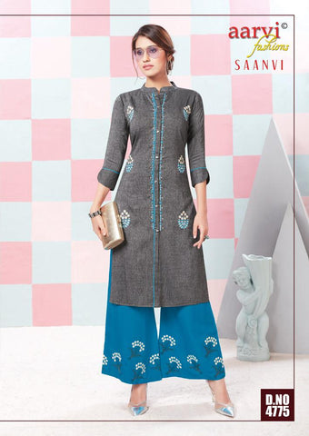 AARVI FASHION SAANVI VOL.1 TWO TONE KURTI WITH PLAZO COLLECTION