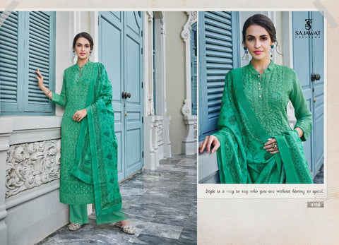 SAJAWAT CREATION LERRISA NX READYMADE LAKHNOWI STYLE STITCHED SUITS