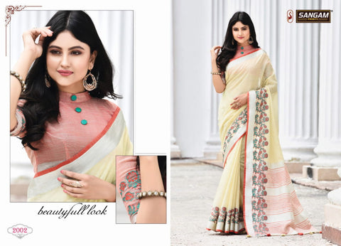 Sangam Prints Aadya Linen Fancy Wear Designer Sarees