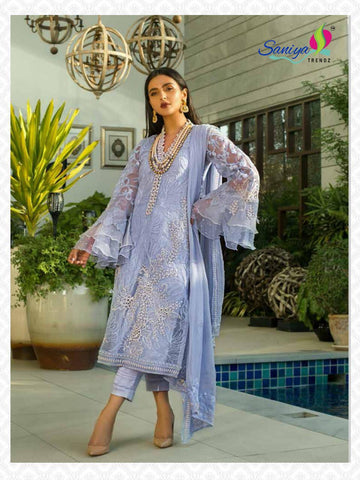 SANIYA TRENDZ MINA HASAN PAKISTANI LUXURY PRET FAUX GEORGETTE SUITS