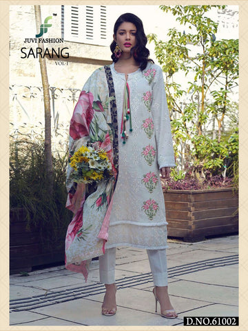 Juvi Fashion Sarang Vol 1 Pure Lawn Cotton Embroidery Work Salwar Suits