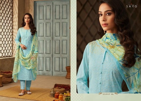 SARG lEAFLET PURE LAWN PATTERN EMBROIDERY SUITS WITH HAND WORK