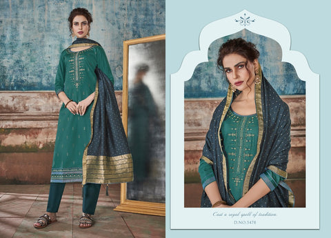 KESSI FABRICS SAUGAT JAM SILK FESTIVE WEAR DRESS MATERIAL WITH EMBROIDERY