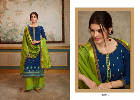 Kessi Present Sharnai Fabrics Jam Silk Heavy Embroidery Designer Salwar Suits