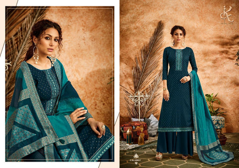 KAPIL FAB SHEEN PURE COTTON BANARASI SELF WEAVING EMBROIDERED DRESS