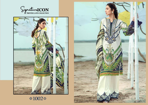 Signature Icon Lawn Cotton Fabric Georgette Pakistani Salwar Suit