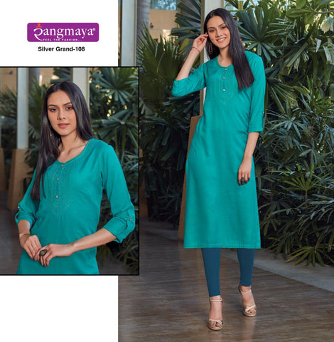 RANGMAYA PRESENTS SILVER GRAND RAYON SLUB FABRIC KURTI