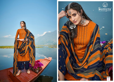 Sumyra Presents Wintery Breeze Pure Pashmina Printed Embroidery Work Fancy Designer Salwar Suits