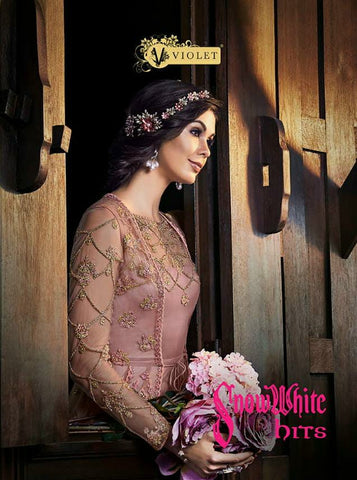 VIOLET SWAGAT SNOWWHITE HITS WEDDING WEAR GOWN COLLECTION