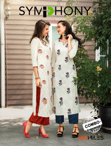 100 MILES BRINGS SYMPHONY KURTI WITH BOTTOM CASUALWEAR COMBO