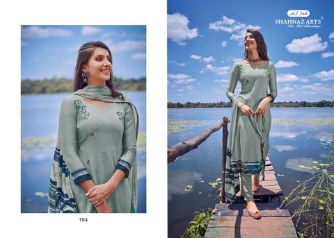 Shahnaz Arts Enara Jam Silk Cotton Embroidery Designer Work Suits