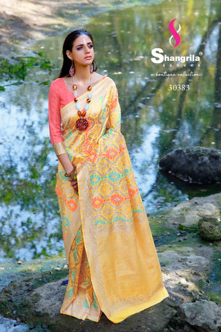 Shangrila Creation Silk Beauty Handloom Silk Designer Saree Collection