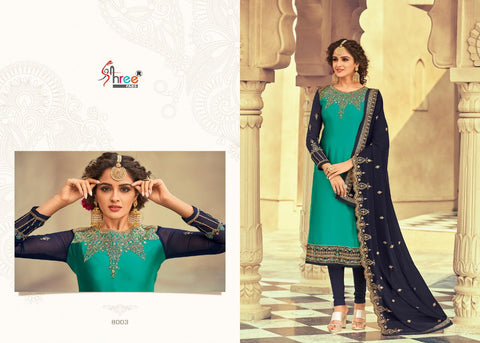Shree Fabs Florina Exclusive Embroidered Georgette Satin Lehenga Style Suits