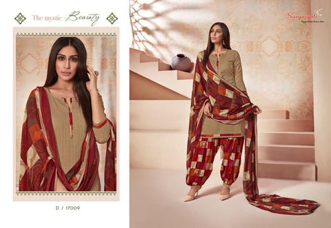 Suryajyoti Paneree Patiyala Vol 17 Cambric Print Exclusive Patiyala Style Suit