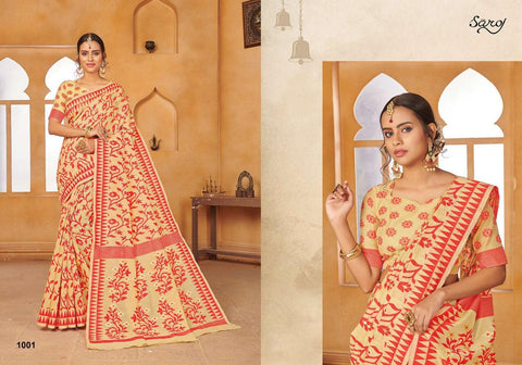 Swarn Kala By Saroj Cotton Jequard Traditional Wear Saree