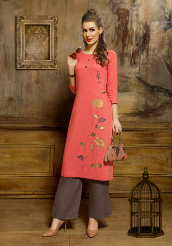 PINK MIRROR PRESENTS TIMELESS VISCOSE CASUALWEAR KURTI WITH PANTS