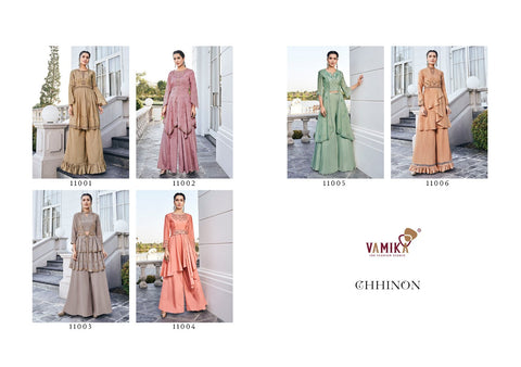 Vamika Presents Chhinon Fabric Pure Heavy Chhinon Stylish Designer Kurtis Collection