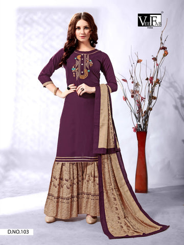 VEE FAB INDIA PRESENTS SENORITA RAYON KURTI WITH BOTTOM & DUPATTA